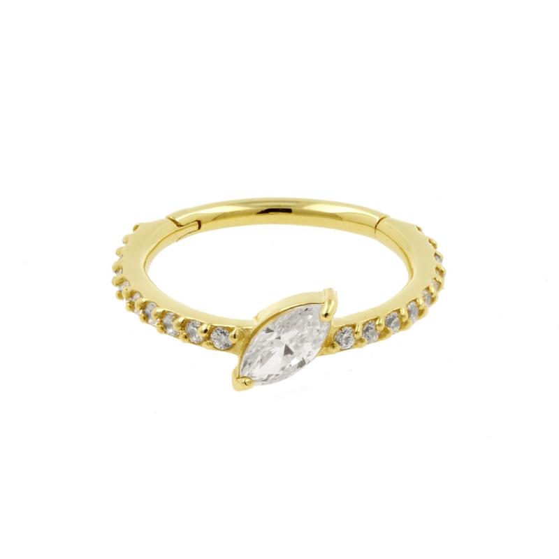 Gouden Conch Clicker - Swarovski Zirkonia Marquise En Gems