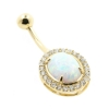Gold Belly Ring with Oval Opal