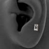 Internally Threaded Tragus Barbell - Zirconia Rectangle 4mm