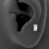 Internally Threaded Tragus Barbell - Zirconia Trapezoid