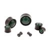 Stone Inlay Wood Plugs - Ironwood & Green Agate