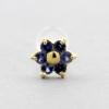 Bioplast Labret Stud - Gold And Sapphire Flower