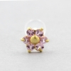 Bioplast Labret Stud - Gold And Pink Sapphire Flower