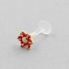 Bioplast Labret Stud - Gold And Ruby Flower