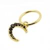 Gold Click Ring Charm - Zirconia Moon
