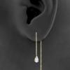 Gold Chain Earrings - Zirconia Teardrop