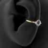 Gold Conch Clicker - Swarovski Zirconia And Topaz Marquise Diamond