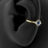 Gold Conch Clicker - Swarovski Zirconia And Topaz Marquise Diamond