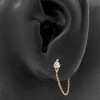 Gold Zirconia Dots With Chain - Threadless