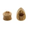 Teak Cactus Teardrop Plugs - Succulent In Pot