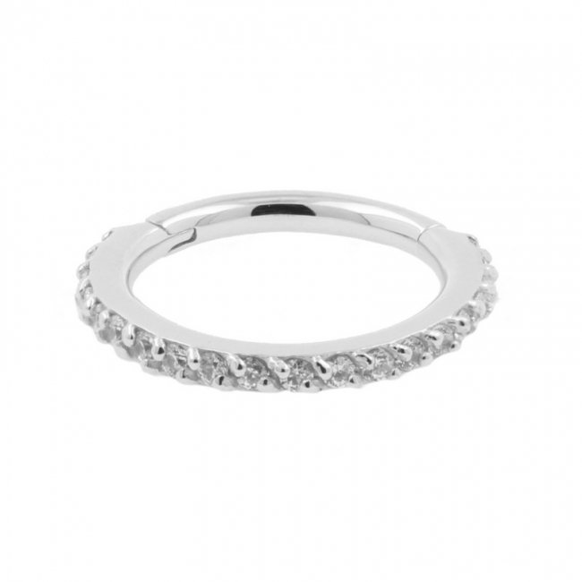 White Gold Click Ring With Swarovski Zirconia