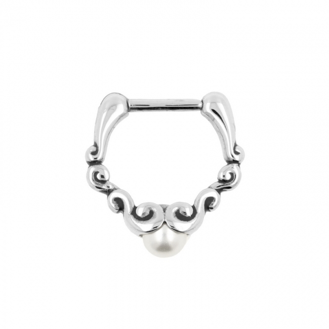 Ornate Septum Clicker with Pearl
