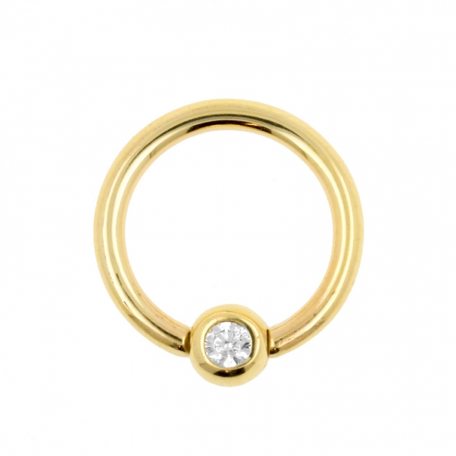 Gold Ball Closure Ring with Zirconia