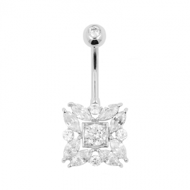 White Gold Belly Ring Jewelled Square