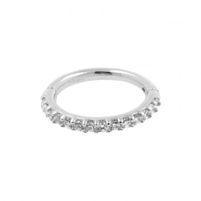 White Gold Click Ring - Zirconia Bottom