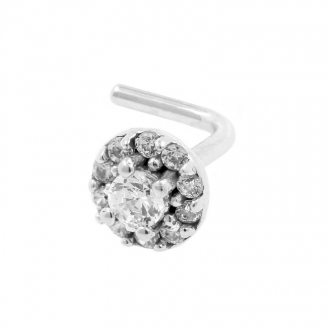 White Gold Nosestud - Zirconia Circle