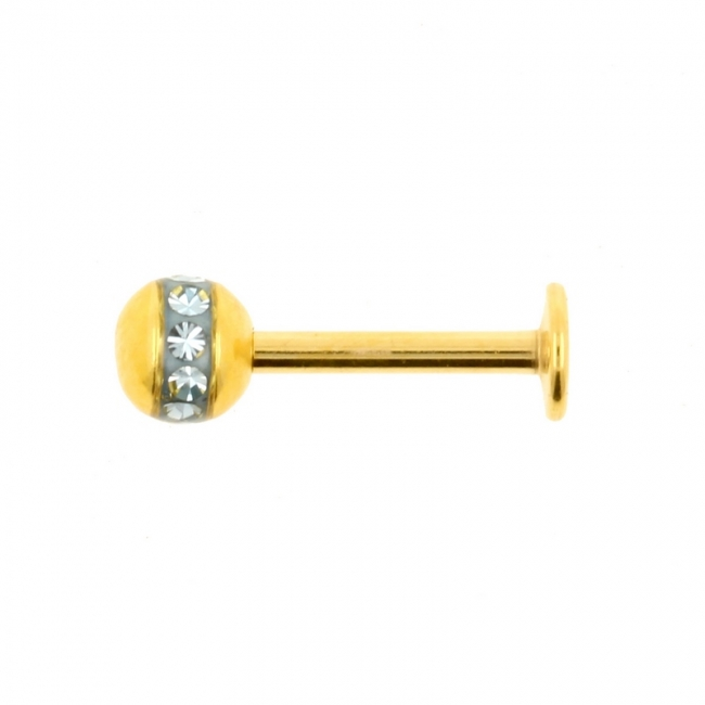 Gold Coloured Labret Stud With Orbit Ball