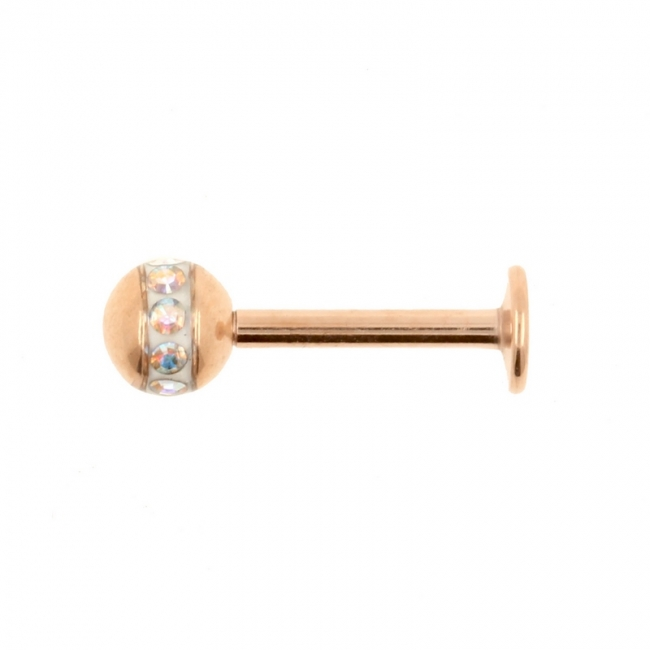 Rose Gold Coloured Labret Stud With Orbit Ball