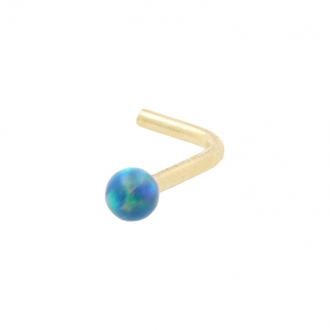 Gold Nose Stud with Opal Ball