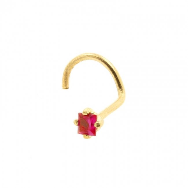 Gold Nose Stud with Square Gem