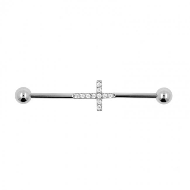 Jewelled Industrial Barbell - Cross