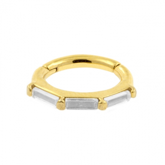 Oval Click Ring with Three Zirconia Baguettes