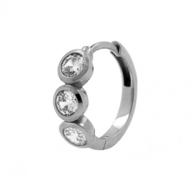 Click Hoop Earrings - Triple set Zirkonia