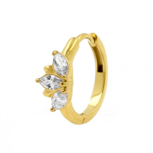 Click Hoop Earrings with Marquise Zirconia