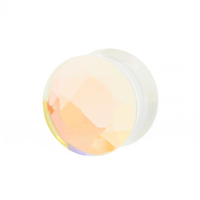 Faceted Glass Plug Aurore Boreale