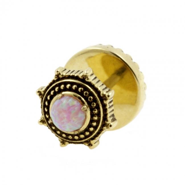 Brass Fake Plugs With Opal