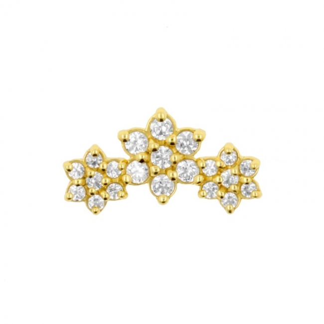Gold And Zirconia Flower Cluster