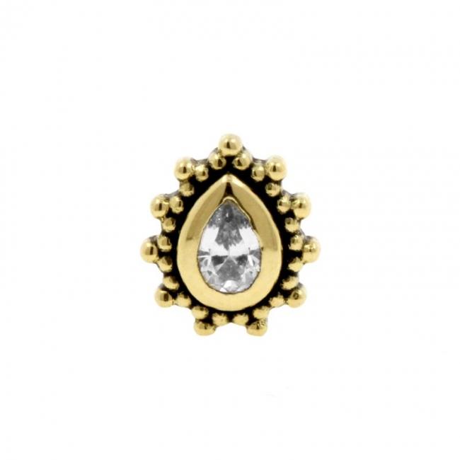 Gold Swarovski Zirconia Dots Droplet