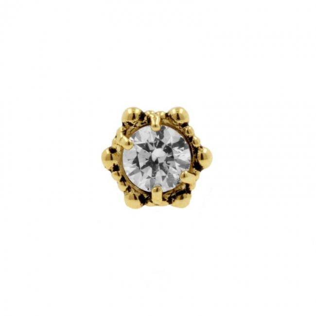 Gold Swarovski Zirconia Dotted Round