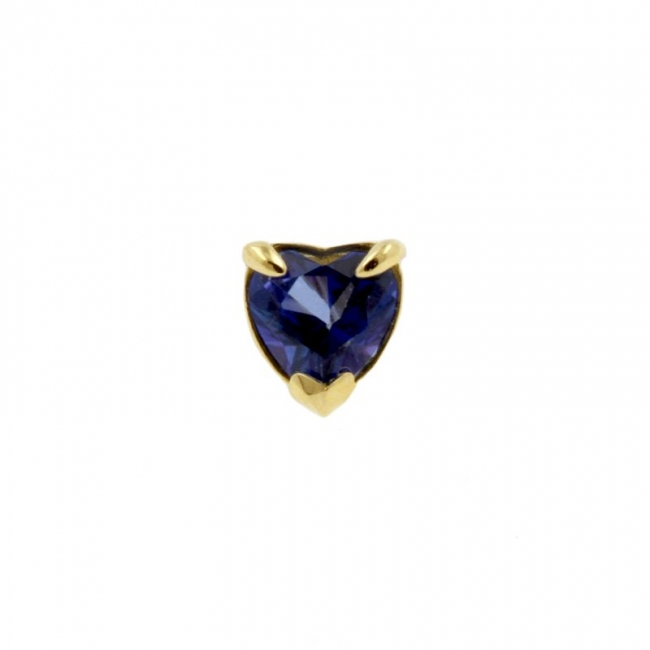 Gold Swarovski Blue Topaz Heart
