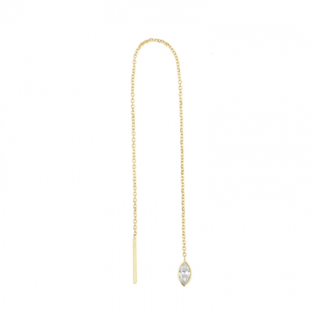 Gold Chain Earrings - Zirconia Marquise