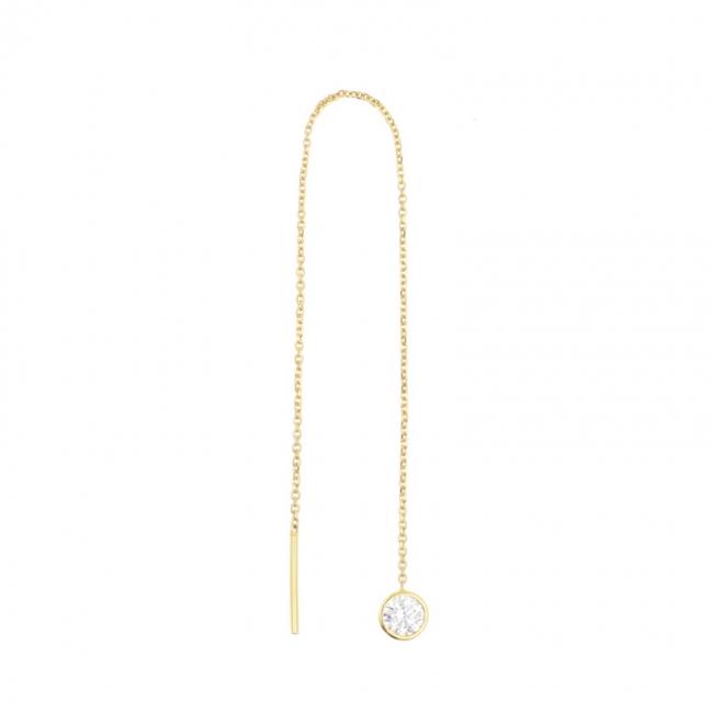Gold Chain Earrings - Zirconia Round