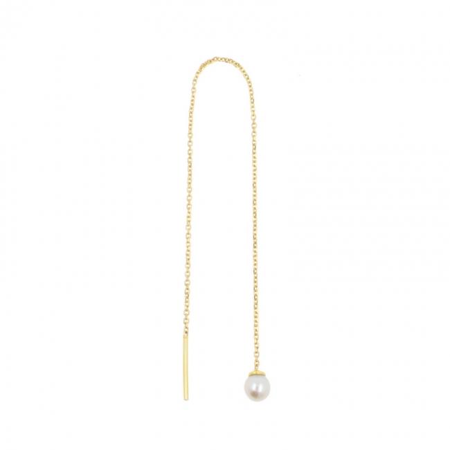 Gold Chain Earrings - Pearl