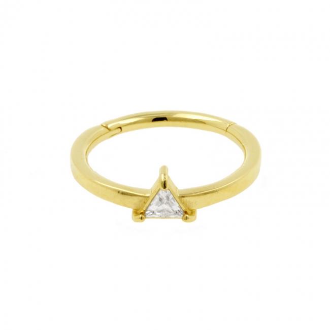 Gold Conch Clicker - Swarovski Zirconia Triangle