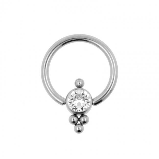 Titanium Swarovski Cluster Ball Closure Ring