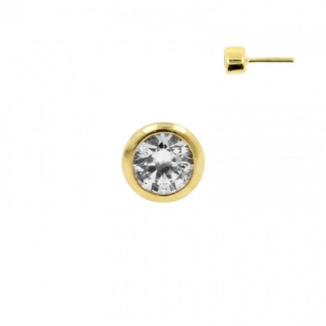 Gold Swarovski Zirconia Disc - Threadless