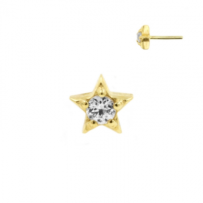 Gold Swarovski Zirconia Star - Threadless