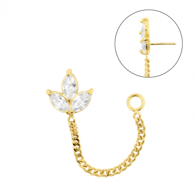 Gold Zirconia Marquise Cluster With Chain - Threadless