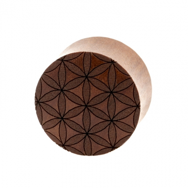 Flower of Life Plugs - Sawo Wood