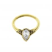 Gouden Daith Clicker - Swarovski Droplet