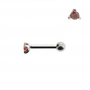 Mini Helix barbell with 2mm facetted zirconia