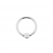 White Gold Jewelled Mini Ball Closure Ring