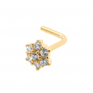 Gold Nose Stud With Zirconia Flower