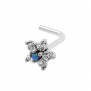 White Gold Nose Stud With Zirconia Flower