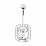 White Gold Belly Ring Jewelled Rectangle