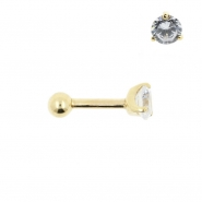 Gold Tragus Barbell - 4mm Zirconia